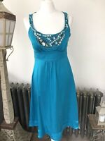 Monsoon Dress Size 8 Blue 100% Silk Beading Lined Wedding Cruise Races Party Zip