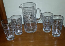 BEAUTIFUL GOEBEL CLEAR GLASS PITCHER WITH 4 GLASSES