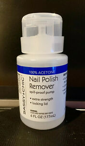 NEW 100% ACETONE NAIL POLISH GEL REMOVER SPILL- PROOF PUMP 6 FL