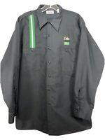 BP Oil Co Long Sleeve Button Up Shirt Garage Shop Gray British Petroleum LG. F46