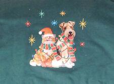 New Green Christmas Sweatshirt XL Women's Wirefox Terrier Dog Orange Tabby Cat