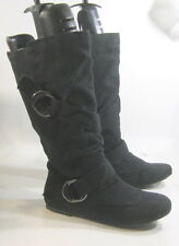 new Blacks flat comfortable faux suede buckles sexy mid-calf boots size 5.5 P