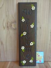 "WELCOME WALL SIGN 18"" x 5"" Dark Wood Engraved Hand Painted Cream Flowers"