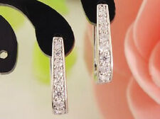 SILVER, PLATINUM PLATED CZ CRYSTAL HUGGIE HOOP LOOP EARRINGS