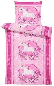 Einhorn Bettwäsche 135x200 cm Unicorn Pferd rosa pink Kinder Mädchen Microfaser