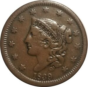 1839 Coronet Head Large Cent, N-2, R.2, Head of 1838, Fine to VF