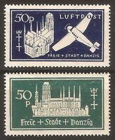 DR Danzig Nazi Rare WW2 Stamp '1937 Daposta Avia Airmail Luftpost Castle Classic