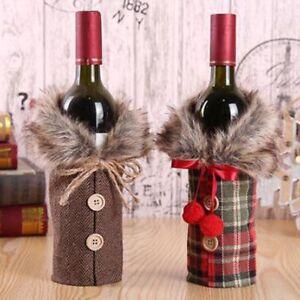 1/2pcs Fancy Santa Claus Outfit Christmas Wine Bottle Bag Cover Xmas Table Decor