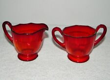 Gorgeous Ruby Red Glass Cream Creamer & Sugar Set