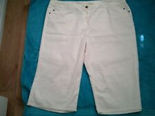 22  WHITE  STRETCH  COTTON  ELASTANE CROP PANTS ZIP WIDE WAIST BAND NWT $29