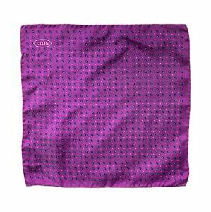 Eton Teardrop Print Silk Pocket Square, Purple, One Size