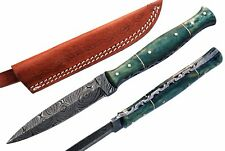 Damascus steel BLADE SPORTING,THROWING,BOOT KNIFE DAGGER DYED COLOUR BONE HANDLE