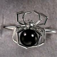 Round Cut Black Pearl Punk Spider 925 Silver Ring Women Halloween Jewelry Gift