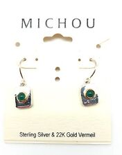 "Silver & Gold Hook Earrings 1"" Michou Green Agate May Rectangular Sterling"
