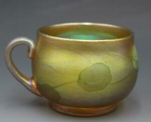 Antique C1900 LCT Louis Comfort Tiffany Favrile Art Glass Punch Cup