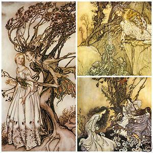 Fairy Tale wall art prints Arthur Rackham childrens decor shabby chic vintage