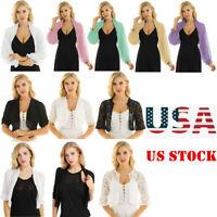 Women's Sleeved Bolero Shrug Coat Tops Chiffon Lace Cropped Cardigan Top Blouse