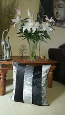 4 x 20 inch SILVER AND BLACK  crushed Marble  Velvet 20in Cushion WITH Cover