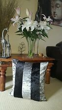 3 x 20 inch SILVER AND BLACK  crushed Marble  Velvet 20in Cushion WITH Cover