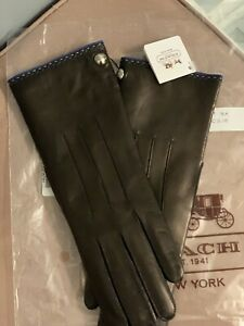 Coach Ladies Womens Cashmere Lined Black Leather Gloves size 7