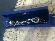 NEW BOXED SWAROVSKI CRYSTALS + BLACK GLASS PENDANT NECKLACE WITH PAPERS