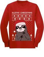 Funny Slothy Christmas Ugly Christmas Youth Kids Long Sleeve T-Shirt Xmas