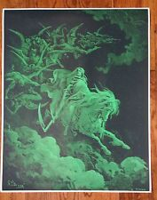 """Gustave Dore Poster Print 24"""" x 30"""" Death on a Pale Horse Dante's Inferno Green"""