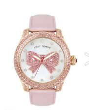 Betsey Johnson Womens Pink Crystal Bow Watch BJ00019-80 Retails for $155