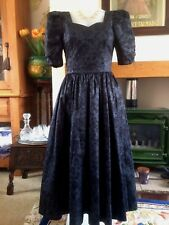 Vintage 1980s Laura Ashley Dress Black Grey Jacquard Goth Steampunk Size 10/12