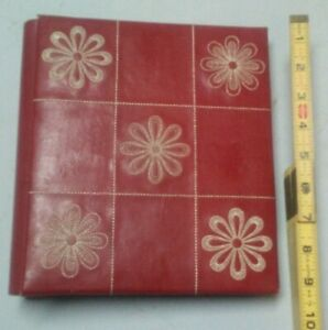 Red Flower Stitched Genuine Bonded Leather Photo Album