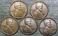 1910 1911-D 1915-D 1923 1927-D Lincoln Cent Penny Nice Lot --- #J103