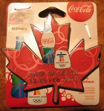Topper Leaf  Bottle set   AUTHENTIC Coca cola  Vancouver 2010  Olympic PIN NEW