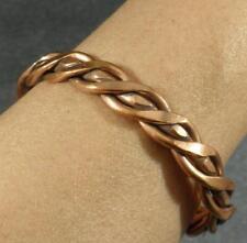Pure Copper Rustic Heavy Braided Wire Cuff Bracelet Adjustable Men Women L to XL