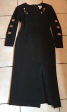 VINTAGE JOSEPH RIBKOFF CREATIONS BLACK GOLD BUTTONS SPANDEX DRESS SIZE UK 14