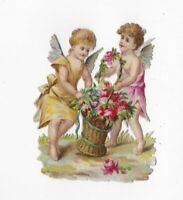 "1880 VICTORIAN PINK YELLOW CHERUBS ROSE BASKETGREEN TIES Die-Cut scrap, 2.5"""