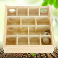 Wood Hamster Maze Toy With Glass Cover Hut House Cage Playground For Small Pets