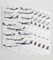 Delta Airlines Aircraft with Airport Codes - Gift Wrapping Paper
