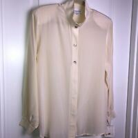 Pendleton Ivory Silk Tunic Top Blouse Sz 6 High Neck Shell Buttons Career NWT