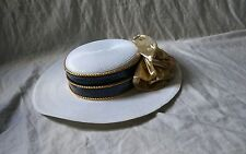 Women's Blue White Gold Bow Derby Hat Wedding Fashion Church Hat