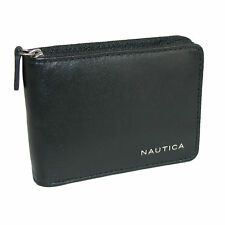 New Nautica Men's Leather Weatherly Slim Zip-Around Bifold Wallet