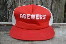 Vintage 1990's Brewers Mesh Snap Back Short Brim Truckers Cap