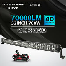 "4D 52inch 700W Curved LED Light Bar SPOT FLOOD Offroad Jeep Truck ATV PK 54"" 50"""