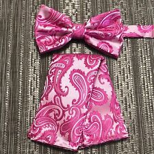 Fuchsia Hot Pink Paisley Pre-tied Butterfly Bowtie and Pocket Square Hanky Set