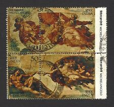 India 1975 Michelangelo painting se-tenant block of 4 postally used