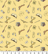 "Fabric Harry Potter 100% Cotton 112cm (44"") wide FQ, 1/2m, 1m Magic Symbols"