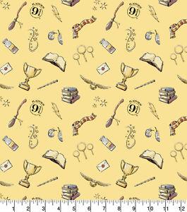"Fabric Harry Potter Licensed 100% Cotton 112cm (44"") wide Magic Symbols Yellow"