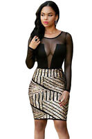 womens black & gold sequin dress eveing towie boutique mesh size 10 12 14