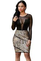 Mujer Negro & Oro Vestido de lentejuelas noche Towie TIENDA Malla 10 12 14