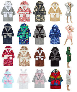Childrens Boys Girls Novelty or Plain Hooded Dressing Gowns Bathrobes ~ 2-13 Yrs