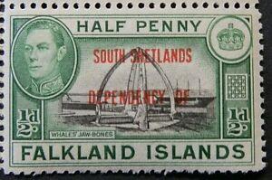 FALKLAND ISLANDS/SOUTH SHETLANDS 1944-45 SG D1 ½d. BLACK AND GREEN  -  MNH